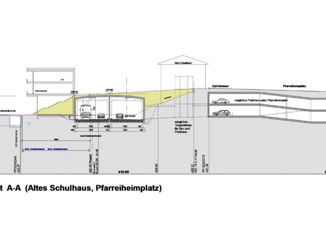 Strassenquerschnitt (Altes Schulhaus, Pfarreiheimplatz)